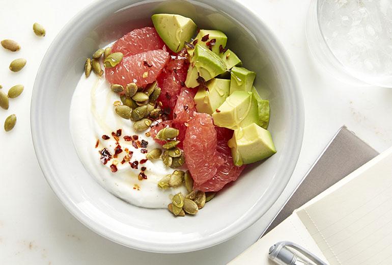 a grapefruit avocado bowl